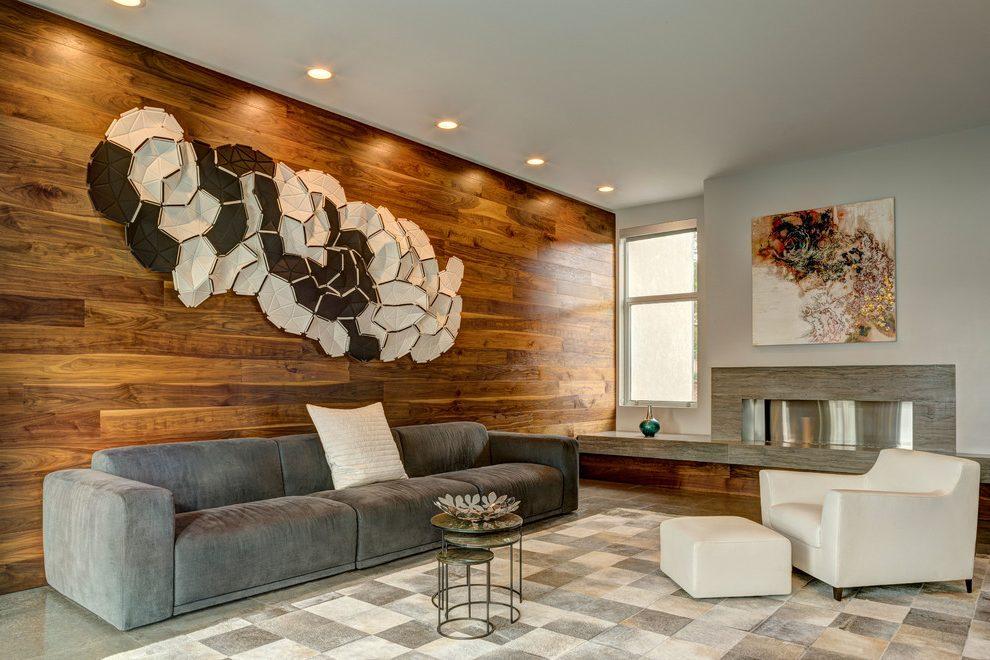 ламинат на стене в гостиной в интерьере
