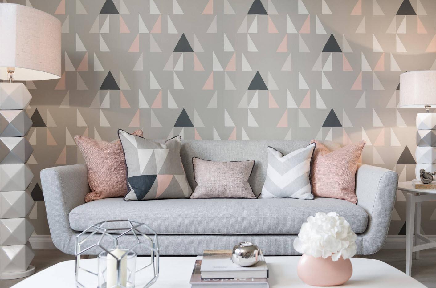 обои для стен с геометрическим рисунком