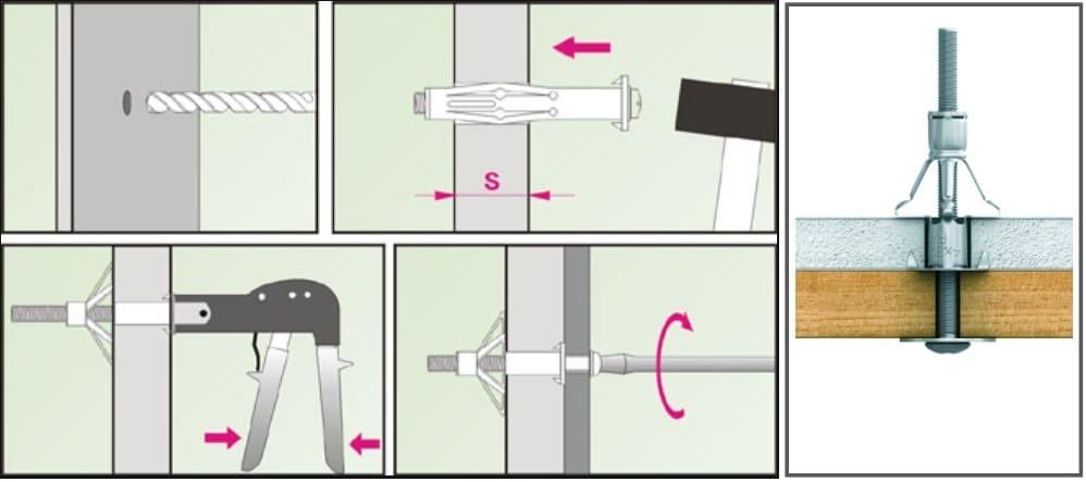 как повесить полки на гипсокартон