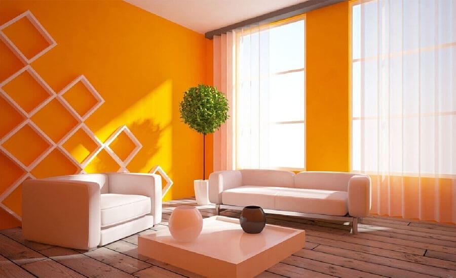 оранжевые обои для стен
