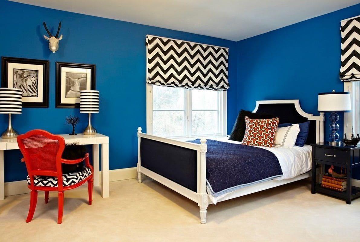 обои синие для стен