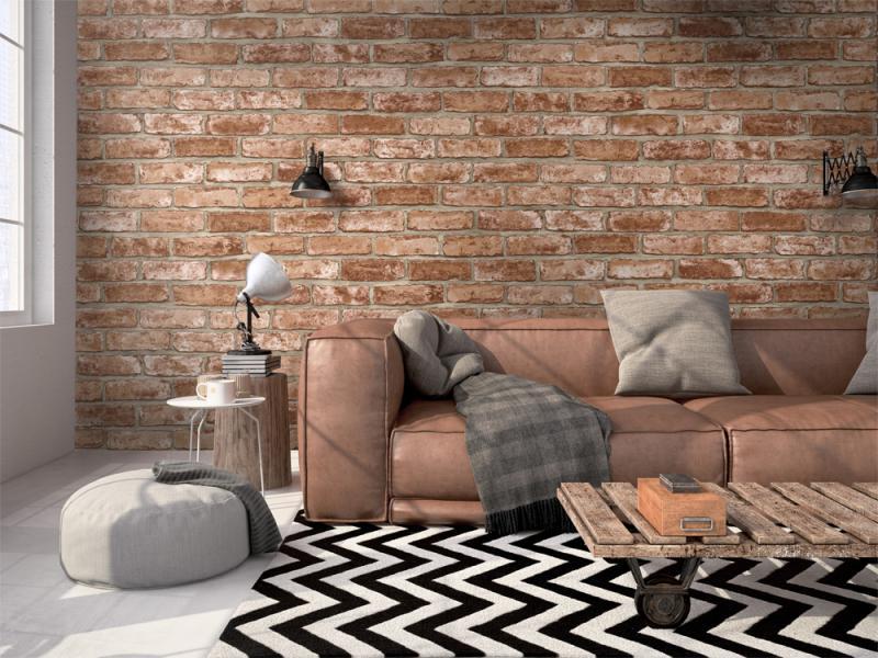 Оформление стен в квартире обоями под кирпич — варианты дизайна