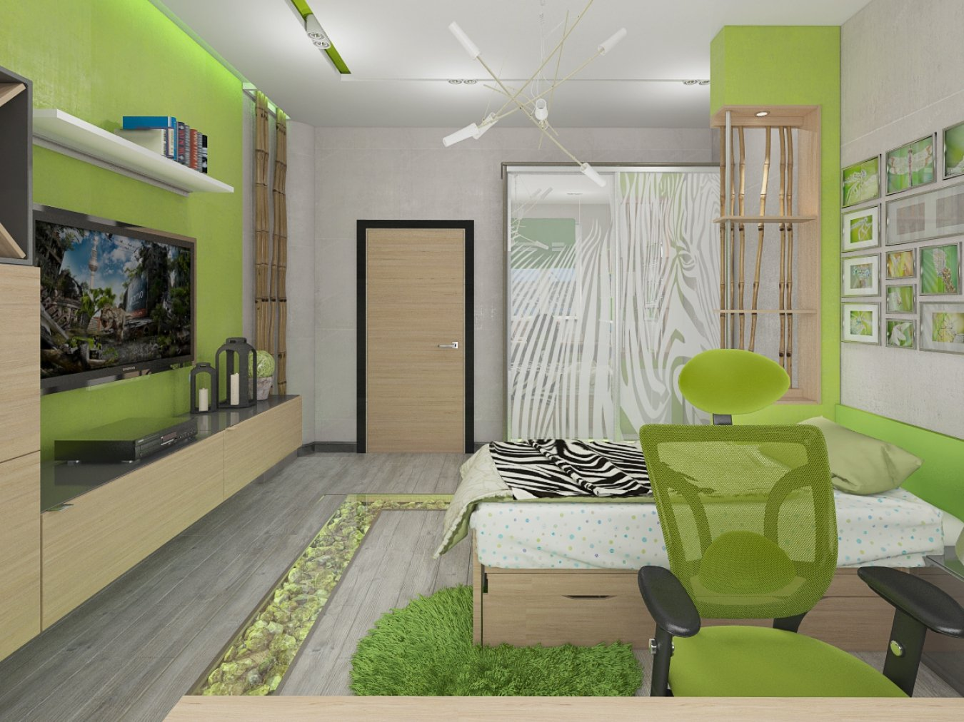 Варианты оформления комнаты обоями зеленых цветов